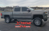 """2018 Chevy 1500 with 3.5"""" Lift, American Racing AR910 Wheels, Falken AT3 Tires."""